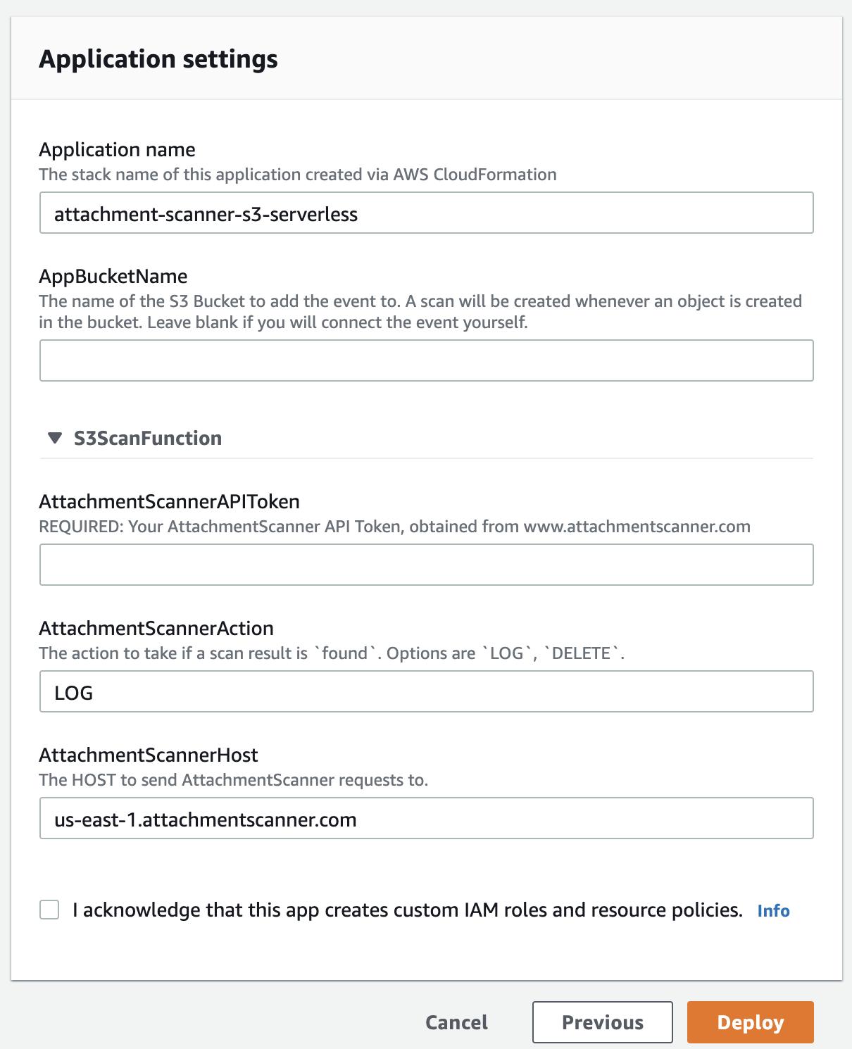 AWS Serverless Creation Screen